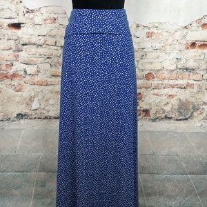 LuLaRoe 2XL Blue Ivory Polka Dot Maxi Skirt